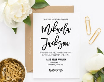 PRINTABLE Wedding Invitation - Rustic Hand Lettered Wedding Invitation - Mikaela Script Wedding Invitation - Customizable Colors