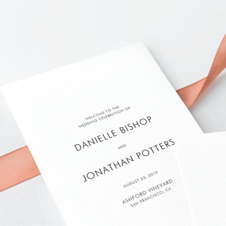 INSTANT DOWNLOAD - Modern Wedding Program Booklet Template - Modern  Minimalist Wedding Program - Printable A4 Order of Ceremony Booklet