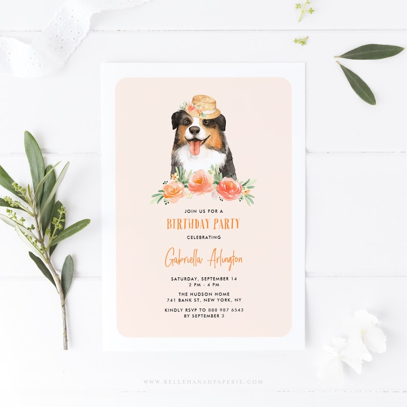 INSTANT DOWNLOAD Printable Dog Birthday Template