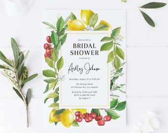 Printable Bridal Shower Invitation - Watercolor Lemon and Cranberry Greenery Invitation Template - Summer Bridal Shower - Instant Download