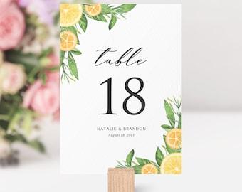 Printable Lemons and Oranges Wedding Tables Numbers Template - DIY 4x6 & 5x7 Citrus Summer Shower Table Numbers -Editable Table Numbers #014