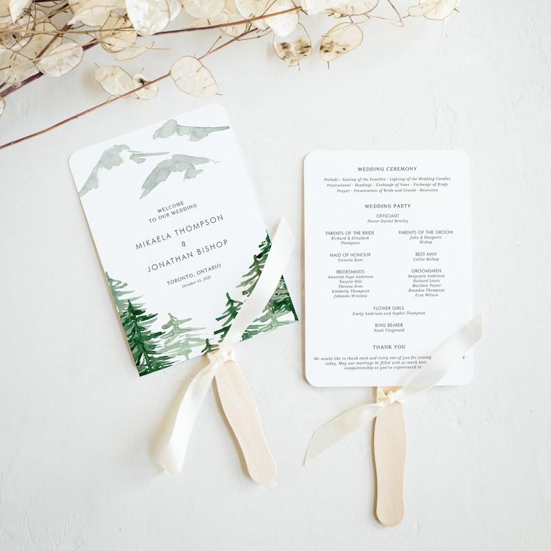 Woodland Wedding Program Fans Template  Editable Watercolor image 0