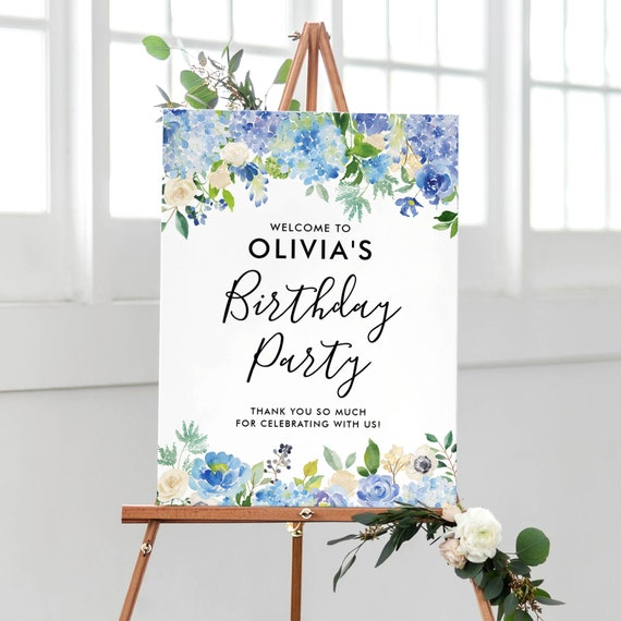 Bloom Blue Birthday Decor BW Large Welcome Poster Welcome Birthday Sign Spring Women Birthday Party Flowers Birthday Board Any Age