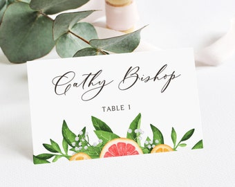 Printable Grapefruits Place Cards Template - DIY 4x6 & 5x7 Citrus Theme Summer Weddings, Showers Place Cards - Editable Escort Cards - #013