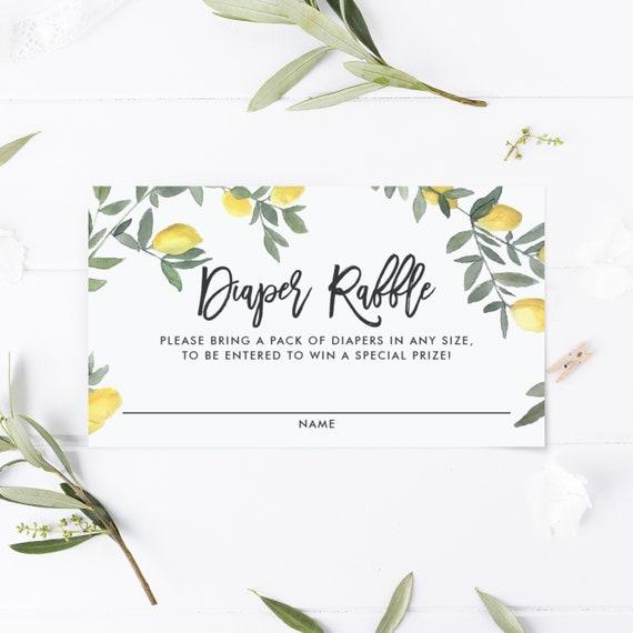 Editable Diaper Raffle Card Template Printable Boho Watercolor Lemons Garland Diaper Raffle Ticket 3 5x2 Summer Baby Shower Games