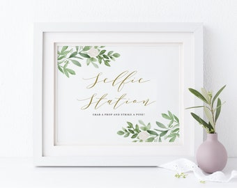 Greenery Selfie Station Wedding Sign - Printable Watercolor Greenery and White Flowers Wedding Photo Booth Sign - Instant Download GWF23