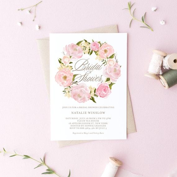 Instant Download Floral Bridal Shower Invitation Template Etsy