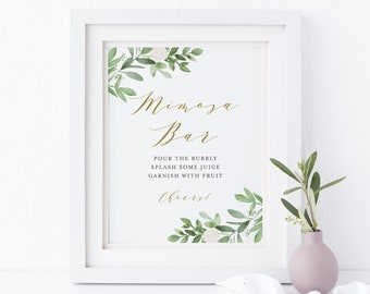 Tropical Leaves Mimosa Bar Sign - Printable Watercolor Tropical Variegated Leaves Summer Bridal Shower Mimosa Bar - Instant Download GWF23
