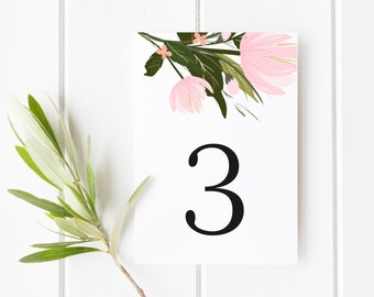 INSTANT DOWNLOAD Table Numbers - Hand Drawn Pink Floral Bouquet - Stella Blooms Table Numbers - Floral Table Numbers Card - Tables 1-10