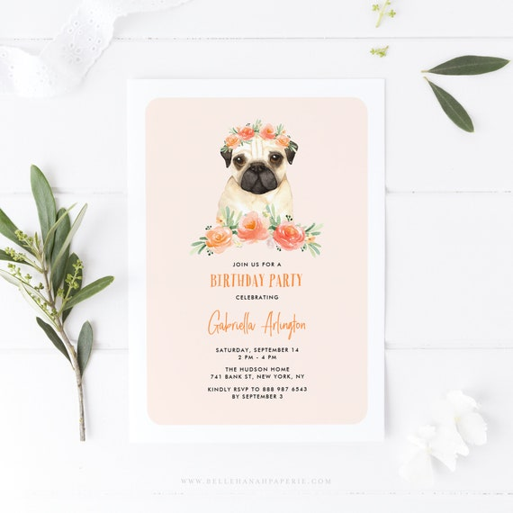 INSTANT DOWNLOAD Printable Dog Birthday Party Template