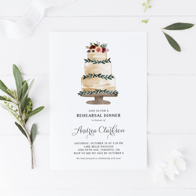 Fall Cake Rehearsal Dinner Shower Invitation Template Editable DIY FTC6 Watercolor Tiered Cake with Fall Flowers Wedding Shower Invite