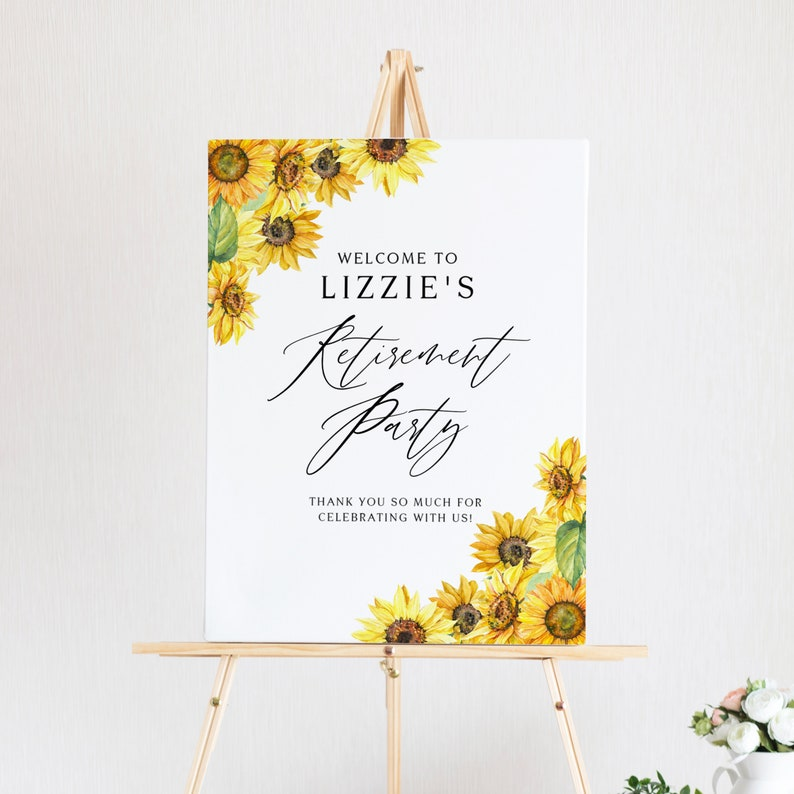 DIY Floral Retirement Poster Editable WS95 Sunflowers Retirement Party Welcome Sign Template Printable Rustic Watercolor Sunflower Sign