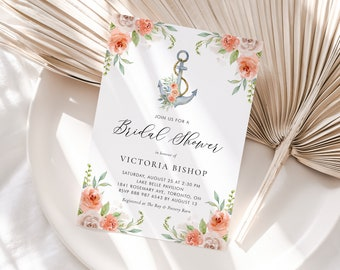Floral Anchor Bridal Shower Invitation Template - Printable Anchor with Orange Flowers Nautical Summer Bridal Brunch Invite - Editable OA14