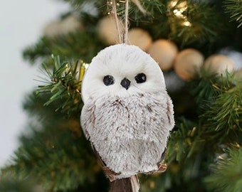 white brown snowy owl rustic woodland christmas ornament furry white animal ornament snowy owls holiday ornaments christmas tree