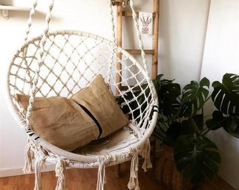 Macrame Tassel Hammock Chair | White Handmade Woven Bohemian Chair | Swing  Chair | Outdoor And Indoor | Patio Deck Decor