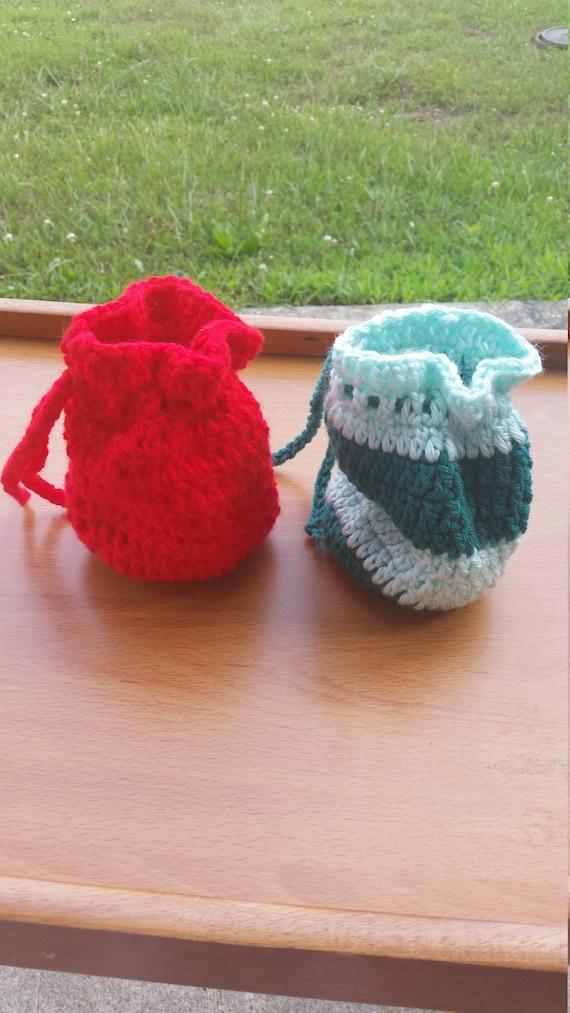 crochet mini drawstring bag