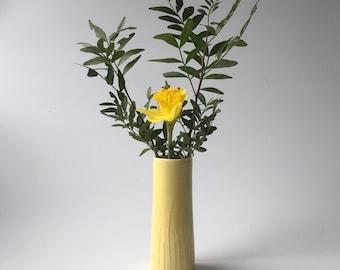 Mustard Yellow cylinder vase - 16cm - porcelain. Hand thrown.