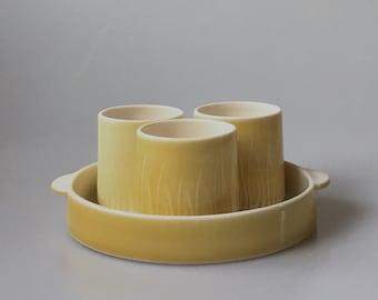 Yellow condiment set - handthrown porcelain