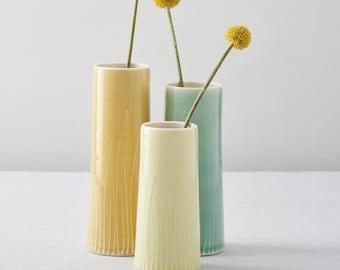 Set of 3 cylinder vases - yellow & green porcelain, handthrown