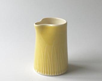 Small Handleless jug - mustard yellow porcelain, handthrown - ceramic handmade jug - milk jug - creamer
