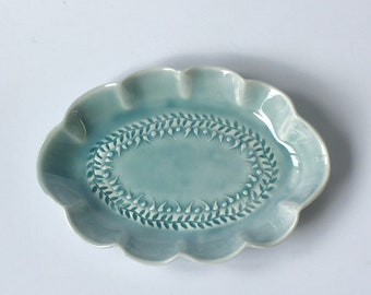 Small blue oval scalloped serving dish - porcelain dish - handmade serving dish - trinket tray - jewellery dish - appetiser dish