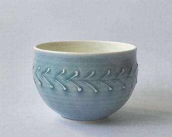 Soup Bowl, blue, leaf pattern - hand thrown porcelain soup bowl - ceramic slipware