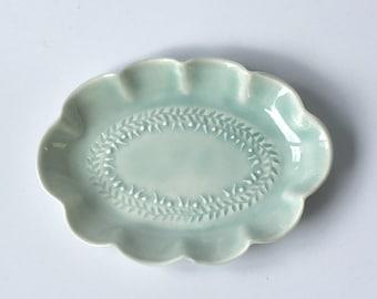Small Light blue small oval dish - handmade dish - porcelain dish - trinket tray - jewellery tray - hors d'oeuvres dish