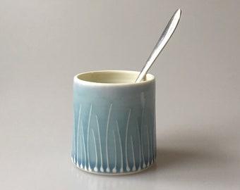 Blue condiment pot - wheelthrown porcelain