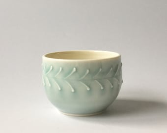 Small bowl - light blue porcelain, leaf pattern - handmade ceramic bowl