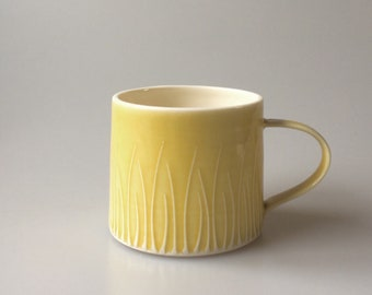 Yellow Coffee Cup  - Butter Yellow Porcelain Ceramic Handmade Mug