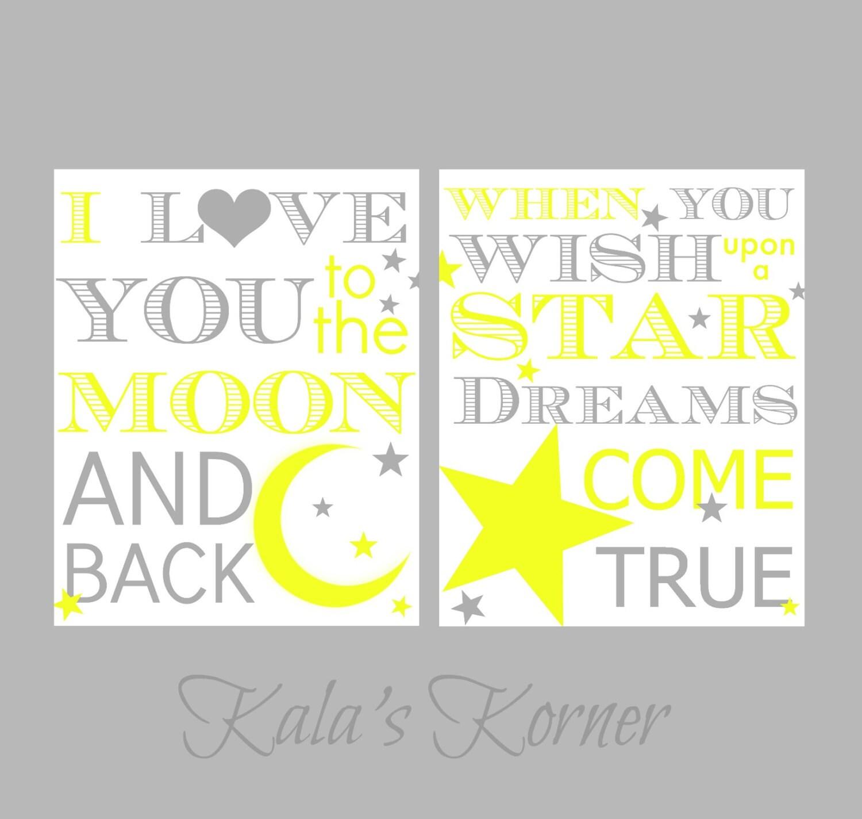 Nursery Art Moon and Stars Yellow and Gray Nursery Love | Etsy