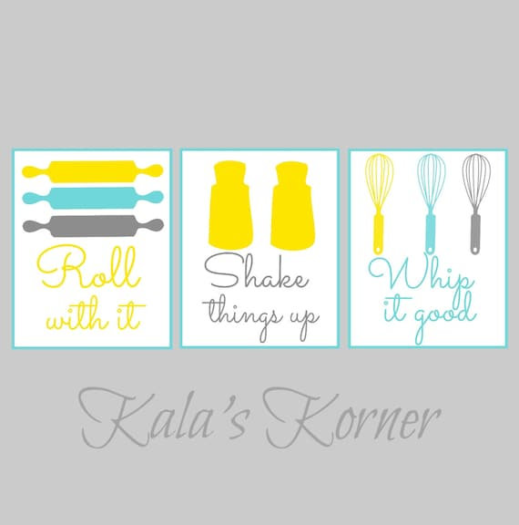 KITCHEN WALL ART Kitchen Print Set Roll With It Shake
