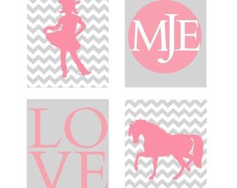 cowgirl nursery art print set decor, pink gray chevron nursery 8x10