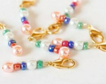 Crochet Stitch Markers Gold Tone Beaded