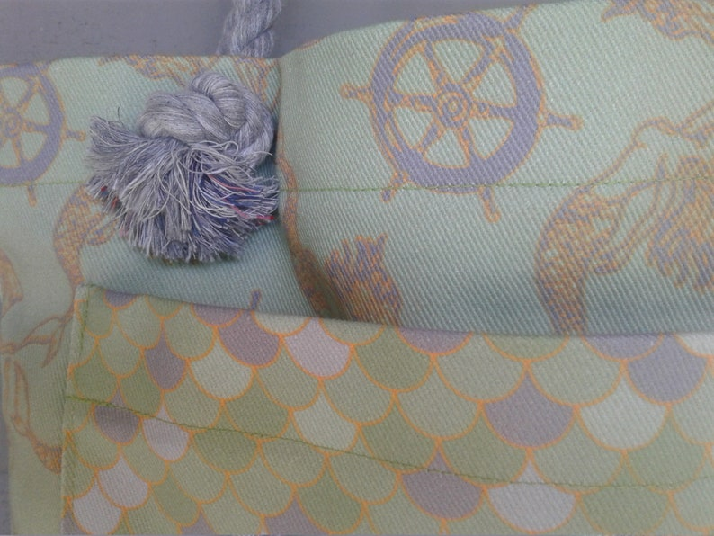Large Tote Antique Mermaids and Ships Wheels with Fish Scale Pocket