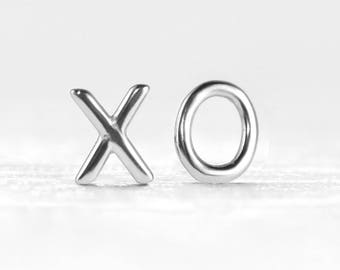 XO Earrings - Silver XO - XO Studs - Dainty Earrings - Mismatched Studs - Silver Hugs and Kisses - Small Silver Earrings - Silver Studs