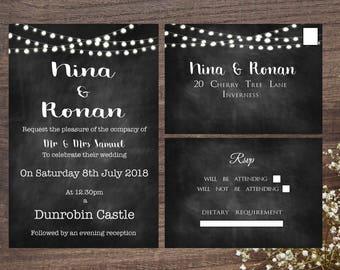 Chalkboard Festoon Wedding Invitation set 5x7 inch