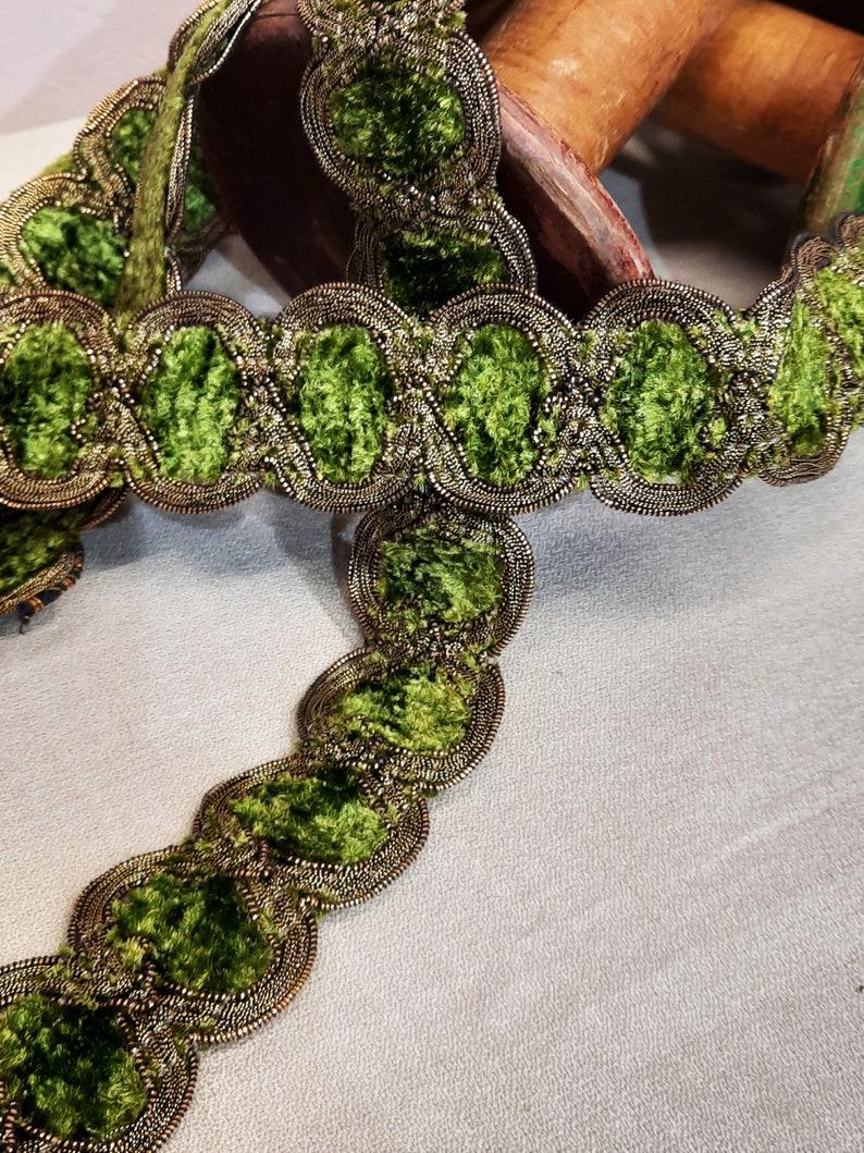 3 metros tapicer\u00eda Antique French silk  galon ribbon trimmings   con oro viejo metalico
