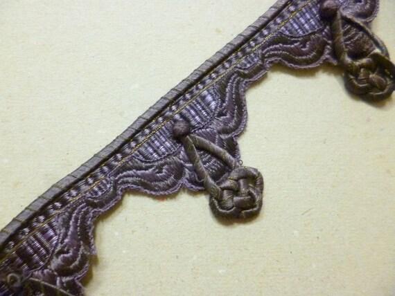 Ruban de soie Français antique Trim coupe de soie soie de brodée de lavande 3f5c57