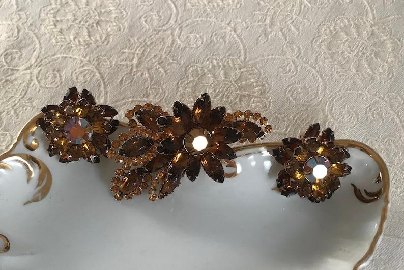 circa 1960/'s Vintage Amber Brown Rhinestone Brooch with matching Earrings Hair Brooch Bridal Wedding Jewelry