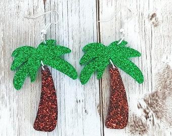 Palm Tree Glitter Resin Earrings
