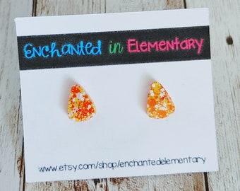 Candy Corn Matte Glitter Resin Stud Earrings