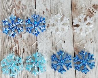 Snowflake Glitter Resin Earrings