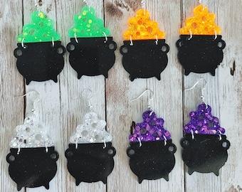 Cauldron Glitter Resin Earrings
