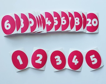Dahlia Red Number Vinyl Floor Decals {Limited Edition Color}