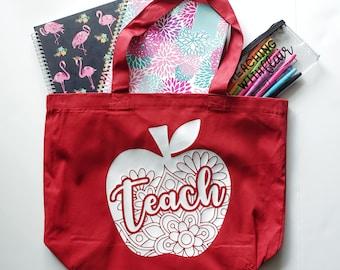 Teach apple tote bag