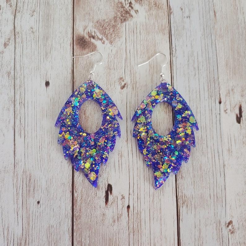 Glitter Resin Feather Earrings