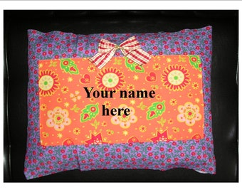 Personalized Girls Room Purple Flower Pillow