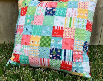 Christmas Pillow   Handmade Pillow   Patchwork Pillow   Quilted Pillow   Decorative Pillow   Throw Pillow   Modern Quilted Pillow