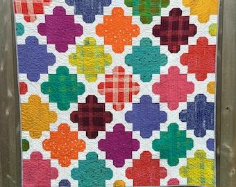 Modern Handmade Quilt   Courtyard Tiles Quilt   Multi-Colors Quilt   Alison Glass Fabric Quilt   Lap Quilt   Wall Hanging